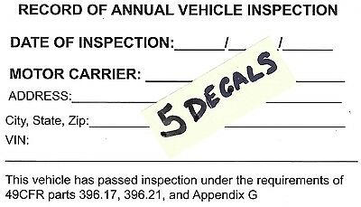 5 Dot Annual Vehicle Inspection Forms Decals Inspector
