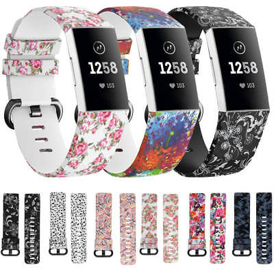 Fitbit Charge 3 Replacement Sports Band Floral Strap Silicone Wrist Watch Bands