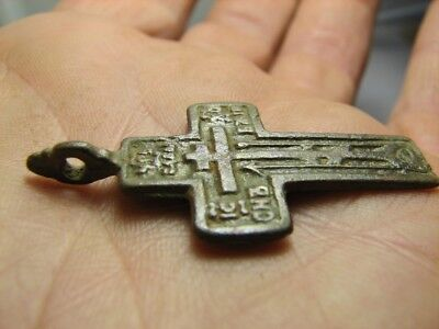Prayer !authentic ! Big !relief!late Medieval Bronze Orthodox Cross Pendant!#814