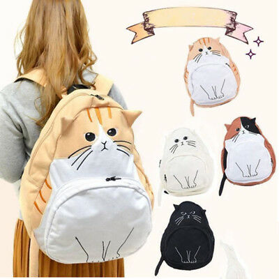 Women Girls Cat Ear Canvas Backpack Shoulder Bag Large School Bags Rucksack Cute