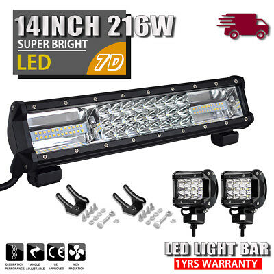 14 inch 216W Flood LED Work Light Bar for Offroad ATV SUV Truck Driving Lamp