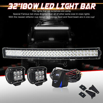 """32inch Curved Led Light bar 2* 4"""" Work Pods Offroad Ford ATV SUV Truck 30"""""""
