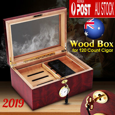120 Count Cigar Humidor Humidifier Cedar Wooden Lined Case Box +Hygrometer +Lock