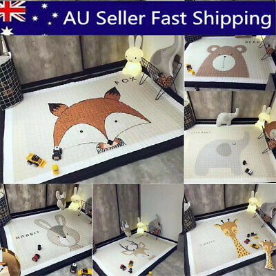 195x145CM Large Soft Rectangle Baby Kids Play Mat Floor Rug Crawling Blanket AU