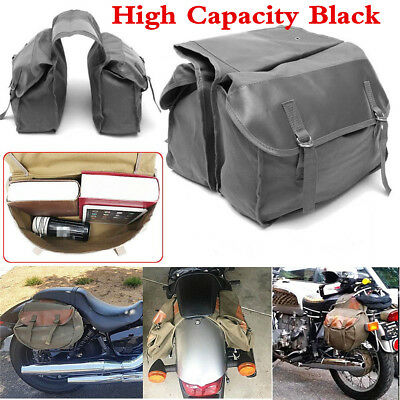 Black Canvas Universal Motorcycle Bike Rear Tail Bags Back Pack Saddle Bags New