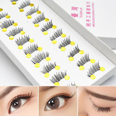 10Pair Soft Black Cross Natural Half Mini Corner Winged False Eyelashes Eye Lash