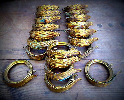 Fantastic Set 20 Antique French Brass Acanthus Leaf Chateau Curtain Rings, 19thC