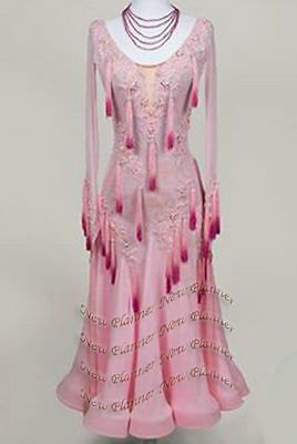 Women Ballroom Waltz Tango Competition Dance Dress Two Pink Fringe Tailor Made
