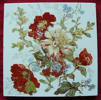 Antique Victorian Print & Tint Floral Tile Red White & Blue Flowers