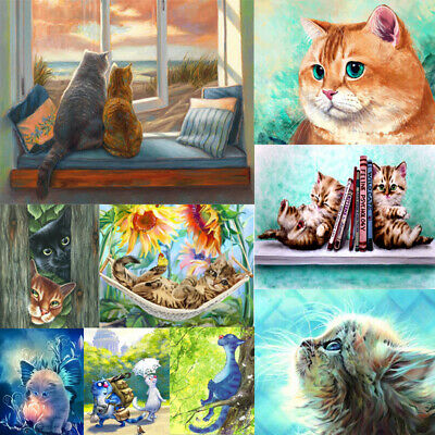 Lovely Cat DIY Paint By Number Kit Acrylic Oil Painting Artwork Home Wall Decor