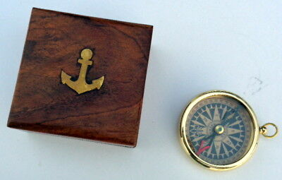 Brass Antique Vintage Nautical Pocket Compass With Wooden Box
