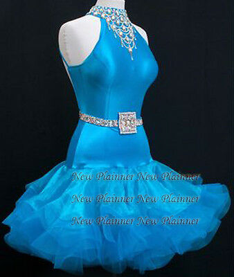 L3775 Ballroom Rhythm salsa Latin samba swing dance dress UK10 blue