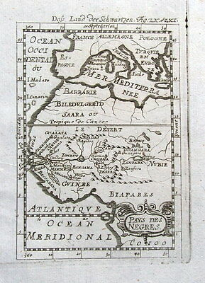 WEST AFRICA, PAYS DES NEGRES, GUINEA,  Mallet antique map 1719