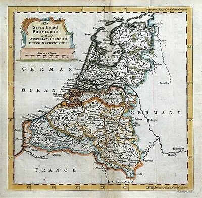 NETHERLANDS, SEVEN UNITED PROVINCES Thomas Jefferys original antique  map c1750