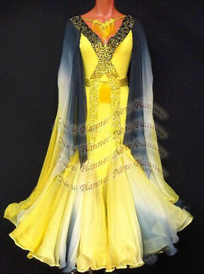 B7714 Women Ballroom Smooth Party Waltz Tango Dance Dress US 6 UK 8 yellow