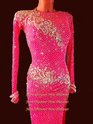 L3728 ballroom women salsa rumba swing Latin samba dance dress UK 6  sleeve sexy