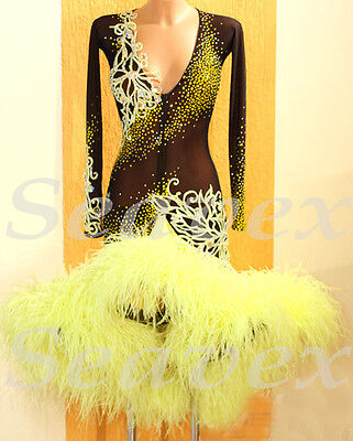 MS 1479 Feather Women Ballroom Competition Swing Rhythm Salsa Rumba Dance Dress