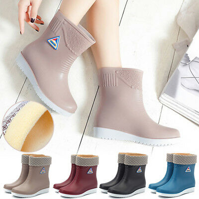 Womens Ladies Winter Rain Chelsea Ankle Wellies Wellington Boots Fur Lined Shoes