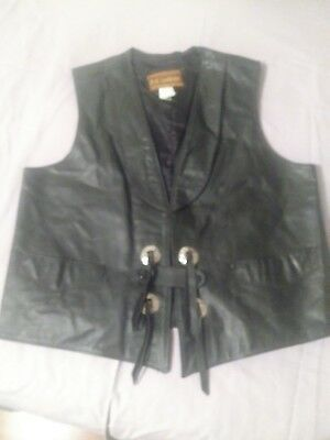 Vintage Mens Leather Vest By J & A Leathers Mexico tag size 44 Western Gambler