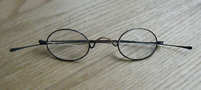 Antique Vtg Old Oval Spectacles Eyeglasses Wire Metal Tin Rim 1800s