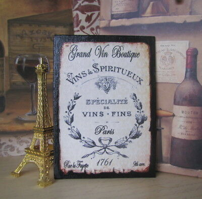 French Wine Sign Bar Room Decor Country Vintage Paris Crate Label