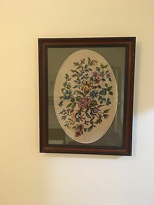 Vintage Tapestry Flower Picture Wall Hanging In Wooden Frame