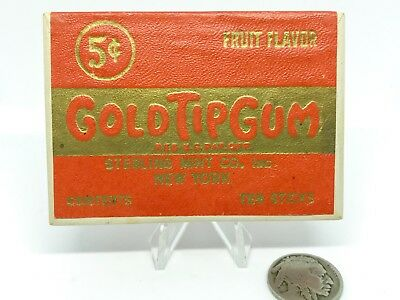 1930s Vintage Advertising Gold Tip Gum Box Cigarette Form Chewing Gum Container