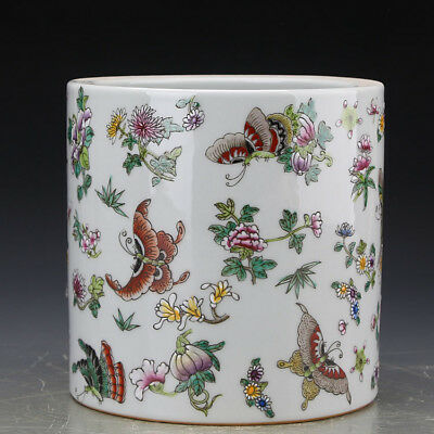 Chinese antique Qing Famille-rose butterfly pattern Porcelain Brush Pot