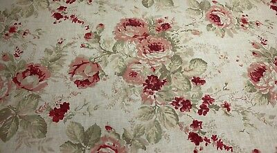 Magnolia Home Shablis English Rose Floral Red Pink Upholstery Fabric By The Yard