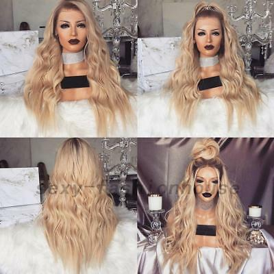 Women Golden Blonde Long Full Wavy Curly Hair Wig Natural Hair Full Wigs Cosplay