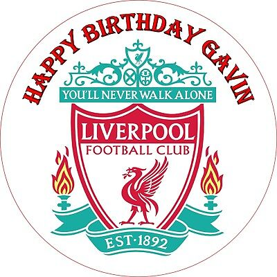 LIVERPOOL FOOTBALL CLUB LOGO. EDIBLE 7.5inch CAKE TOPPER. BIRTHDAY PARTY