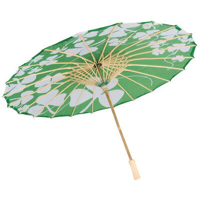 """21.5"""" St. Patrick's Day Shamrock Parasol Festive Costume Party Accessories"""