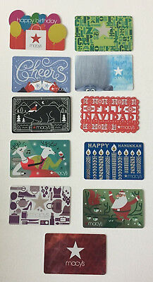 11 MACY'S Gift Cards Set  COLLECTIBLE NO VALUE