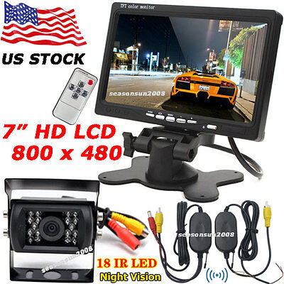 """Wireless 18LEDs IR Rear View Reversing Camera +7"""" LCD Monitor for RV Bus Truck"""