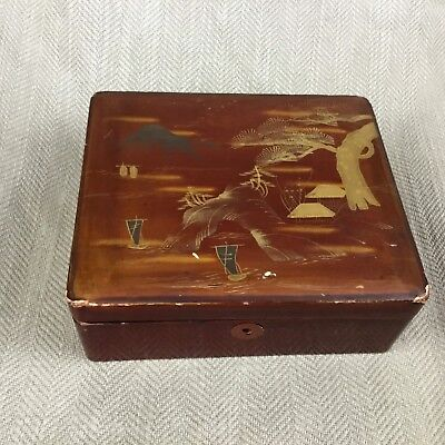 Japanese Box  Lacquered Wooden Kodansu Vintage Lacquer Ware Red Gold