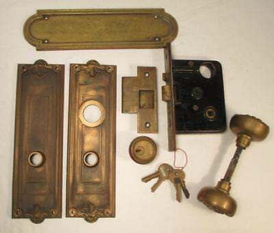 Antique Bronze McCormick Doorkobs Backplates Lockset Roanoke Building Chicago