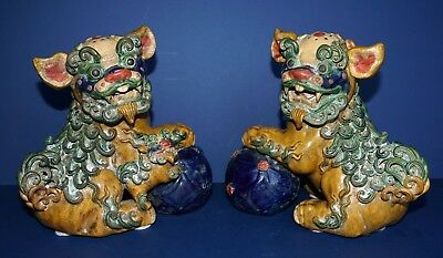 Rare ~ Antique ~ Pair Temple Foo Dogs ~ Glazed ~ Very Detailed