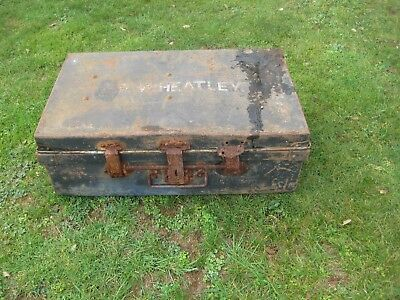 1940s Vintage Military Army Metal Tin Trunk.