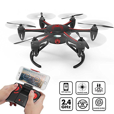 tech rc FPV RC Drone with HD WiFi Camera Live Video, App Controlled Hovering Low