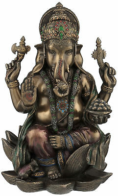 "Religious Hindu God Ganesha of Success Handcrafted Bronze Powder & Resin 7"" Inch"