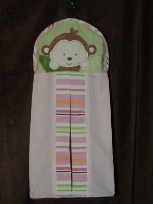 Kidsline Monkey Diaper Stacker Pink Gingham Green