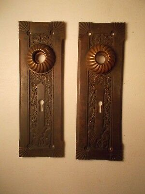 2 Wonderful Antique Bronze, Brass, Door Back plates 6 Winged Gargoyles,Griffins!