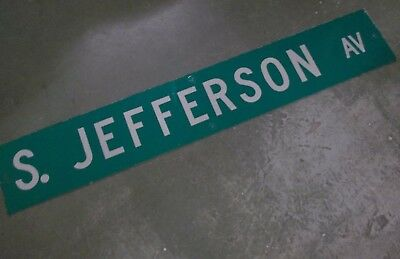 "LARGE Original~ S. JEFFERSON AV Street Sign 54"" X 9"" White Lettering on Green"