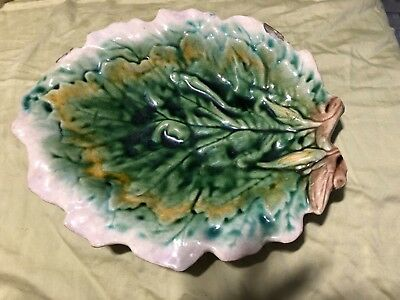 ANTIQUE MAJOLICA POTTERY ETRUSCAN LEAF DISH Griffin Smith & Hill