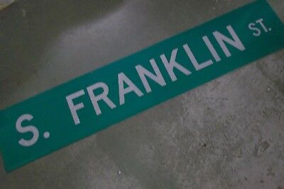 "LARGE Original S. FRANKLIN ST Double-Sided Street Sign 60"" X 12"" White on Green"