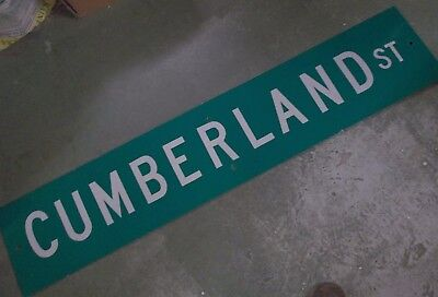 "LARGE Original CUMBERLAND ST Double-Sided Street Sign 60"" X 12"" White on Green"