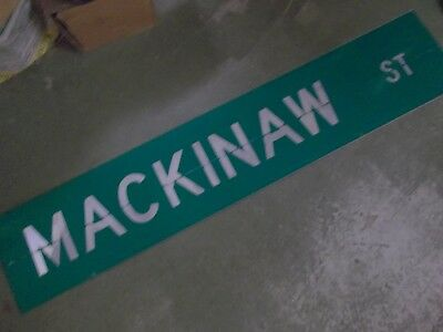 "LARGE Original MACKINAW ST Double-Sided Street Sign 60"" X 12"" White on Green"