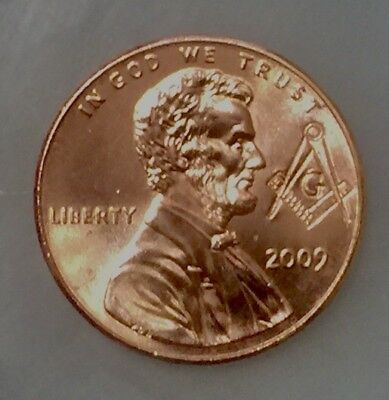 Lot of (2) 2009 D Lincoln Penny. UNCIRCULATED! From Mint Rolls. Masonic Stamped.