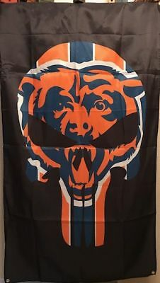 CHICAGO BEARS PUNISHER 3x5 BANNER / FLAG FREE SHIPPING FROM U.S.A