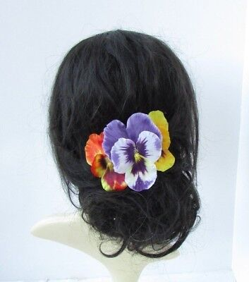 Yellow Lilac Orange Pansy Spring Flower Hair Comb Wedding Fascinator Floral 6695